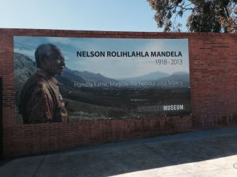 Mandela looms large at the entrance to the Apartheid Museum