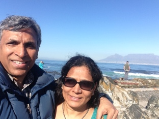 At Robben Island with the Table Mountain in the background
